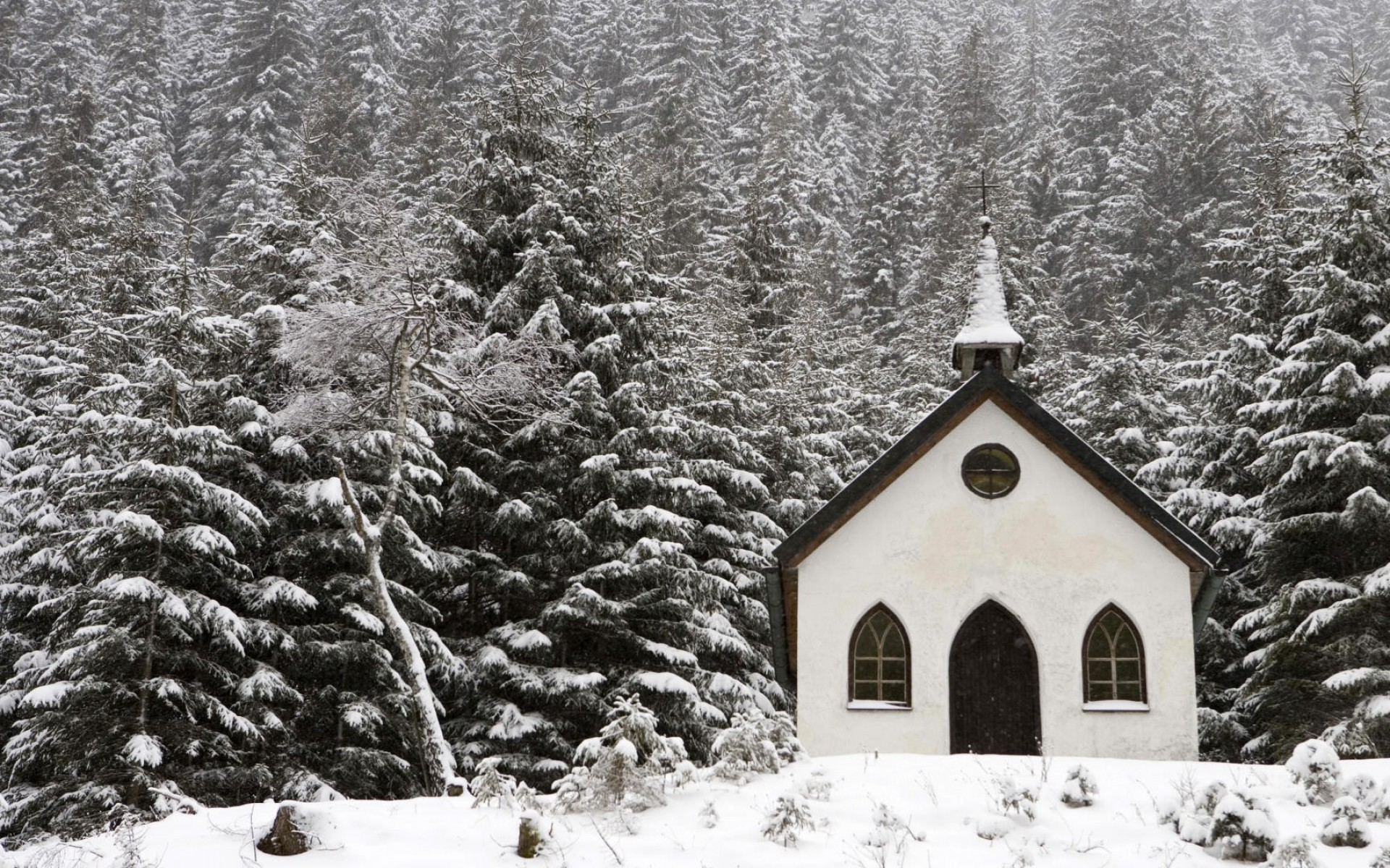 snowy church and xmas - photo #22
